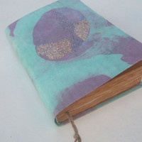 delicate turquoise, lavender , handmade journal, antique diary, notebook, blank book, journal diary, old pages