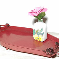 Vintage Metal Vanity Tray in Red with Attached Metal Roses, Oval Serving Tray