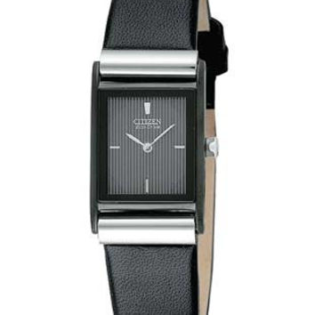 Citizen Ladies Watch - Black Face - Silver-Tone - Black Leather Strap