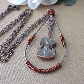 Copper Violin Pendant, Copper Violin Necklace, Vintage Violin Necklace, Large Violin Pendant, Unique Music Jewelry, Wire Wrapped Pendant
