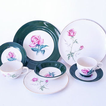 Midcentury TST Green Rim Pink Rose Center Oval Serving Platter Creamer Gravy Sauce Boat China Dinnerware Uniquely Yours