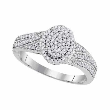 10kt White Gold Women's Diamond Oval Cluster Bridal Wedding Engagement Ring 1-3 Cttw - FREE Shipping (USA/CAN)