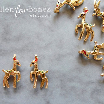 Mini Gold Deer Charm Enamel Pendant Dainty Animal Tiny Fawn Jewelry Supplies ∙ 1pc