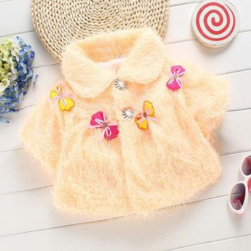 Fashion 2016 sweet cute baby girl clothes winter warm cloak girls cape and ponchoes