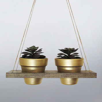 Hanging Planter, Succulent Planter, Terracotta Pot, Air Planter, Hanging Pot, Gold Planter, Modern Planter, Wood Planter, Rustic Planter