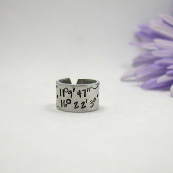 Coordinate Ring - Personalize Name Ring - Personalized Ring - Handstamped Ring - Name Ring - Custom Ring - Adjustable Ring - Girlfriend Gift