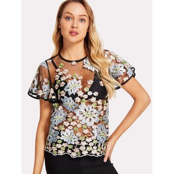Floral Embroidered Flutter Sleeve Sheer Mesh Top Without Bra