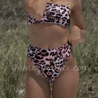 New Places Pink Leopard High Waist Bikini Bottom