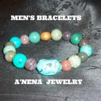 "Men's Bracelet: Turquoise, Fancy Jasper and Wood ""Authentic and Spiritual"""