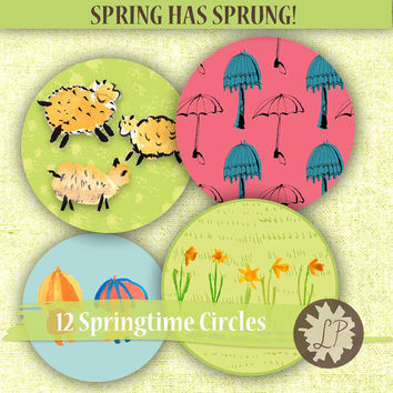 Sheep Clipart,  Printable Watercolor circles for spring - daffodils, umbrellas for scrapbooking, card making, planner clips, Etsy banners