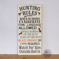 Hunting Rules | Wood Sign | SKU-905