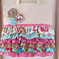 Eco Friendly Grocery Market Shopping Tote  Bag Gypsy Ruffles   with a Mini Wallet