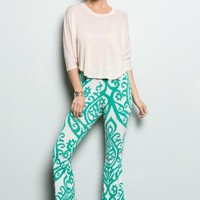 So Far Away Damask Print Flare Pants