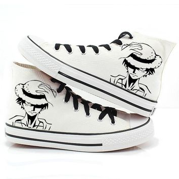 Anime Cosplay Canvas Shoes Monkey D Luffy Hand-Painted Sneakers
