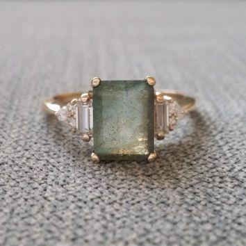 "9x7 Version Antique Labradorite Moissanite Diamond Engagement Ring Emerald Cut Baguette Classic Rose Gold PenelliBelle Rustic ""The Margo"""