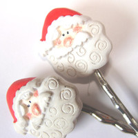 Santa Bobby Pins Set of 2 Girls To Women Christmas Hair Accessory