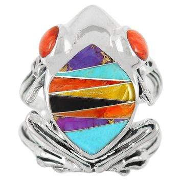Frog Ring Sterling Silver Genuine Turquoise & Gemstones (SELECT Color)