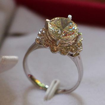 4 Carat Pure 750 Gold Vintage Flower Wonderful Certified Moissanite Women Anniversary Ring Promise Fine Jewelry