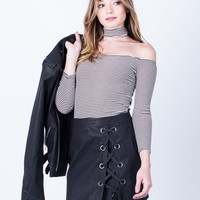 Side Lace-Up Leather Skirt