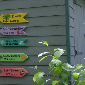 SIGNS SET OF 5 Handpainted Custom Beach Island or by TheRightJack
