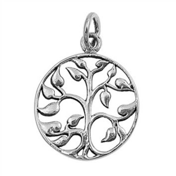 "Sterling Silver Tree of Life Wiccan Pendant 22MM (Free 18"" Chain)"