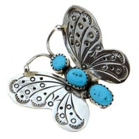 Sterling Silver Turquoise Butterfly Pin Brooch SW Southwestern Style