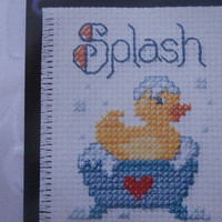 """Hand Made, Ready to Hang, """"Splash"""" Cross Stitch- Baby's Room, Baby Gift, Baby Shower Gift, Rubber Duck, Children's Gift"""