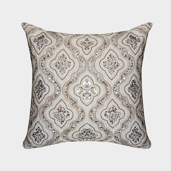 Kalin Hand Embroidered 20-Inch Sequin Throw Pillow