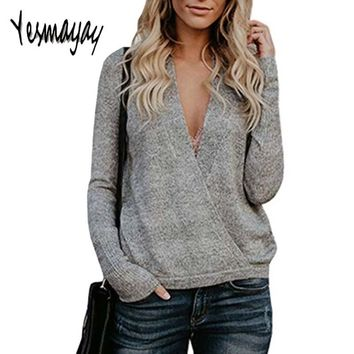 Sexy Autumn Winter Sweaters Fashion 2018 Women Cross V Neck Pullover Women Knitted Pull Femme Hiver Long Sleeve Women Sweater