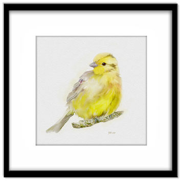 Printable Bird Art, Yellow Hammer Instant Download, Yellow Bird Wall Art, County Garden Art, Cottage Garden