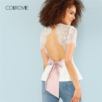 Open Back Bow Tie Eyelash Lace Overlay Blouse Shirt New Summer Short Sleeve Women Blouse White Round Neck Sexy Top