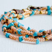 Boho chic golden turquoise multi layered romantic by CallOfEarth