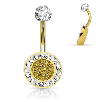 Gold Crystal Sparkly Belly Ring 14ga Surgical Steel Body Jewelry Navel Ring