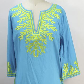 Gretchen Scott Turquoise & Green The Reef Tunic Embroidered Top Size M
