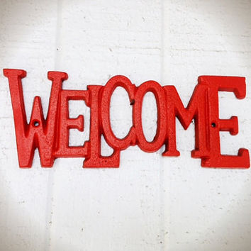 Bright Fire Tangerine Orange Welcome Sign - Hand Painted - Funky Bright Retro Decor