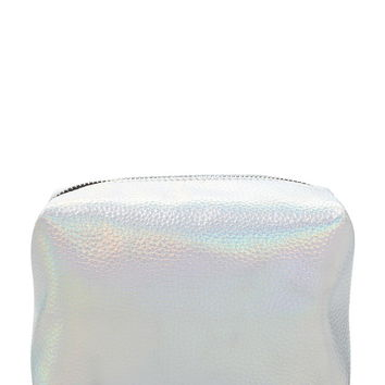 Metallic Faux Leather Makeup Pouch