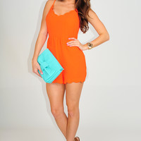 Right On The Limit Romper: Bright Orange | Hope's