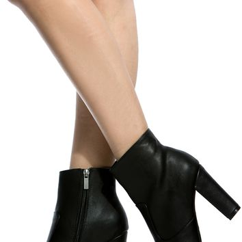 Black Faux Leather Chunky Ankle Booties @ Cicihot. Booties spell style, so if you want to show what you're made of, pick up a pair. Have fun experimenting with all we have to offer!