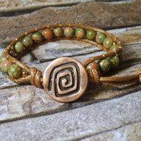 Leather Wrap Bracelet Unakite Gemstones Beaded Jewelry Earthy Wrap Bracelet Knot and Button Single Wrap Bracelet Boho Leather Wrap