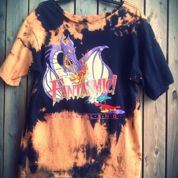 Bleached, tie dyed, skull back cut out, Disney dragon, Mickey Mouse, wizard size large....one of a kind t shirt