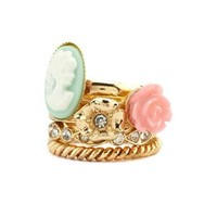 Stackable Cameo Ring Set: Charlotte Russe