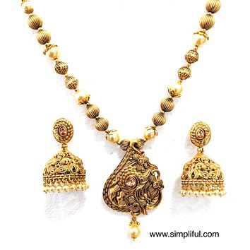 Antique gold finish Faux pearl Necklace and Bold Jhumka Earring set