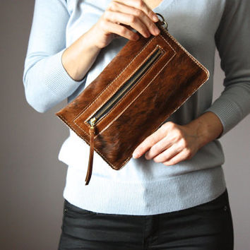 Brown leather clutch,  leather bag, hair on hide clutch, cowhide clutch , fur clutch, Brown