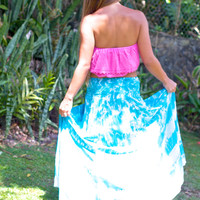 Tiare Hawaii Rock Your Gypsy Soul Skirt Teal/White Tie Dye
