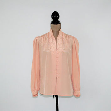 Long Sleeve Blouse Button Up Top Women Embroidered Romantic Blush Blouse Medium Size 8 Blouse Vintage Clothing Womens Clothing