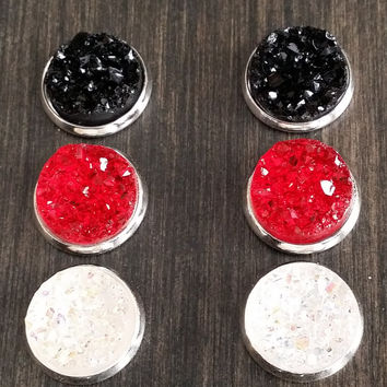 Druzy earring set- Timeless drusy stud set - druzy earrings