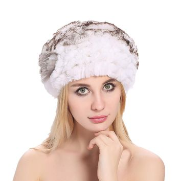 ZY84009 Winter Elegent Women's Genuine Rex Rabbit With Silver Fox Fur Ball Ball Fur Beanies  Hats Caps