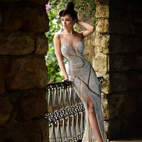 New Arrival 2016 A-line Sweetheart Sequined Prom Dresses Most Sexy Sweetheart Sleeveless Long Party Evening Dress