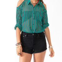 Cutout Striped Shirt | FOREVER 21 - 2000018406