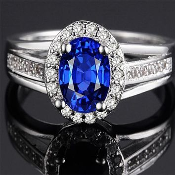 Women Fashion Luxurious 925 Sterling Silver Ring Bling Sapphire Diamond Ring Jewelry Size 6-9